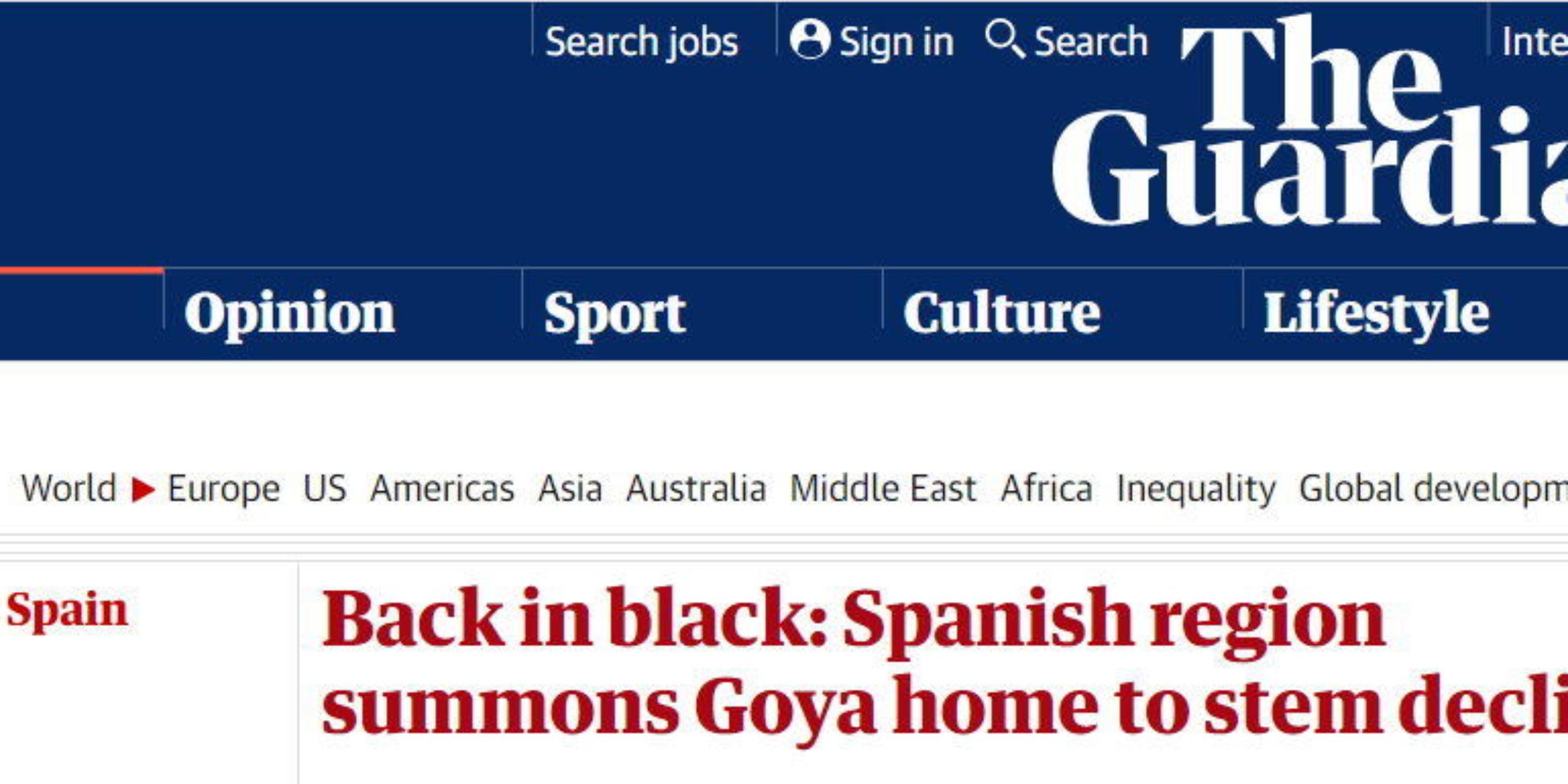 El diario británico The Guardian se fija en los proyectos de las Pinturas Negras y la  Quinta del Sordo de Territorio Goya